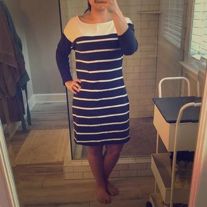 Navy and white casual dress